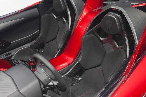 The new Lamborghini Aventador J roadster not only uses carbon-fiber composites throughout the car, but also features a new interior upholstery material called CarbonSkin.   (Source: Lamborghini)