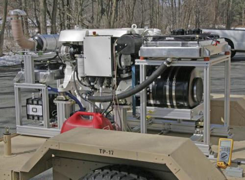 The Army has designed and is testing a 100kW generator that is 1.5 tons lighter than those currently being used, which allows it to be towed by a Humvee. A hybrid electronic architecture and variable engine could reduce fuel consumption by 20 percent. (Source: US Army)