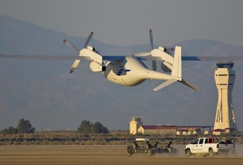 Boeing's Phantom Eye drone takes off for its first autonomous flight June 1 at NASA's Dryden Flight Research Center at Edwards Air Force Base, Calif. The drone achieved an altitude of 4,080 feet and a cruising altitude of 62 knots in its 28-minute flight. (Source: Boeing)