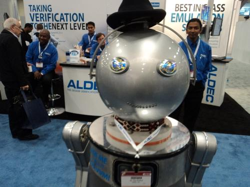 Aldec's talking robot had a pleasant voice and was charmingly quick with a joke, but in the end, it seemed just a little too eager to make friends.