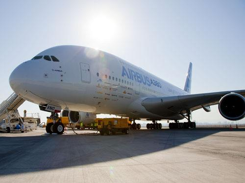 The Airbus A380 demonstrator prepares to take place in the 2012 FIDAE (Feria Internacional del Aire y del Espacio) International Air and Space Show near Santiago, Chile.   (Source: Airbus)