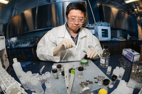 Kang Xu, an Army Research Laboratory scientist, is one of the inventors responsible for a 30-percent increase in energy density in lithium batteries. The work is part of ongoing research to increase the energy of batteries while lowering their weight, to reduce the burden soldiers carry in the field.   (Source: Army)