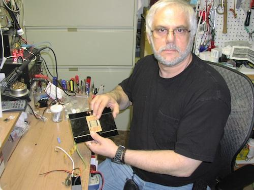 John Iovine's homemade alpha particle spark detector uses a thin tungsten ground wire and a plate charged to about 8,000 volts. 