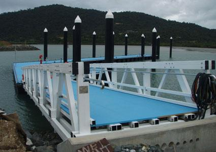 The first floating ferry pontoon made of composites has been installed at Airlie Beach in Queensland, Australia.   (Source: Wagners Composite Fibre Technologies)