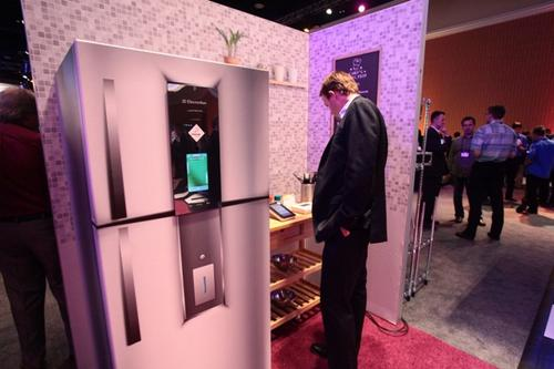 This high-tech fridge from Electrolux was on display in the connected home portion of the Tech Lab. The Electrolux Infinity I-Kitchen appliance, which uses an i.MX25 applications processor, features a touchscreen interface and applications for controlling settings, storing recipes, taking notes, and more.