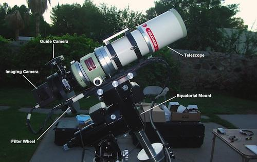 Pictured is the labeled deep-sky imaging system.