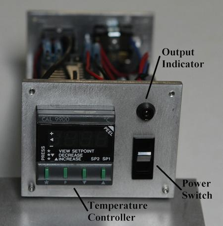 Front view of the temperature controller.