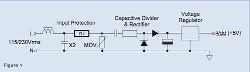 Figure 1: A typical transformerless power supply section for an energy meter.