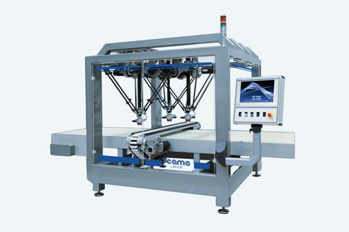 A new delta robot packaging system from Cama Group creates an end-of-line packaging machine with multiple robots operating from a single controller, reducing the overall size and cost of the system.
