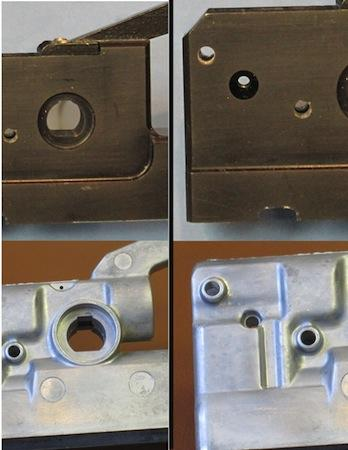 This photo provides before and after views of a part that was machined (top photos) and the same part after it was converted to die castings (bottom photos). The die cast part is able to capture much more three-dimensional detail and consistently meets close tolerances during the manufacturing process.