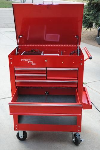 Once you select a project, the toolbox knows which tools are needed to complete the job, and the drawers containing the required tools open.