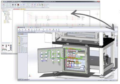 SolidWorks Electrical updates schematic and 3D models in real-time, ensuring designs are always in sync and BOMs are updated. (Source: SolidWorks)