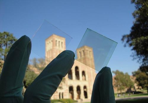 A new kind of polymer solar cell that is almost 70 percent transparent to the human eye could give windows the ability to generate electricity by absorbing mostly infrared, not visible, light.   (Source: UCLA)