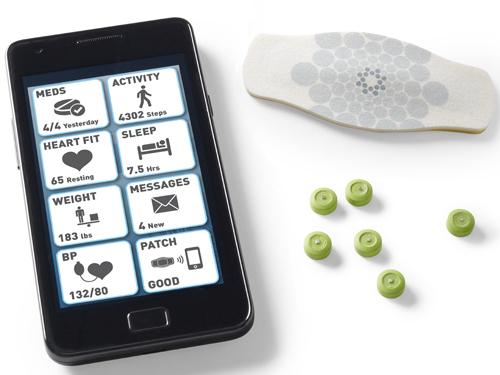 Proteus Digital Health's digital medical system includes an ingestible sensor that works with fluid in the stomach to connect with a patch worn on the skin to record the time the patient takes medication. That information is sent to a mobile application that connects to an Internet database to save the information, so patients can interact with caregivers and keep track of medicines they must take regularly. (Source: Proteus Digital Health)