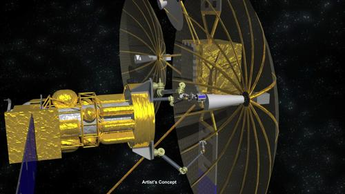 In the proposed Phoenix program, robotic arms and end effectors can decouple an antenna from its retired military communication satellite and reuse it in a new satellite, saving money, maintaining global coverage, and cleaning up space junk.   (Source: DARPA)