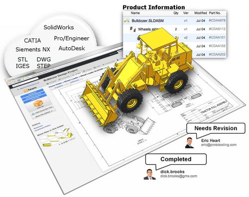 In addition to online preview capabilities of 3D CAD data, TeamPlatform lets engineering companies create white-label private Web pages for ad-hoc data exchange.   (Source: VisPower Technologies)
