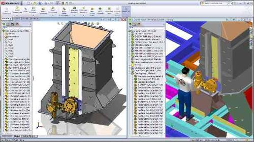 SolidWorks 2012's Large Design Review mode allows massive assemblies to be opened quickly for easy access in design reviews.