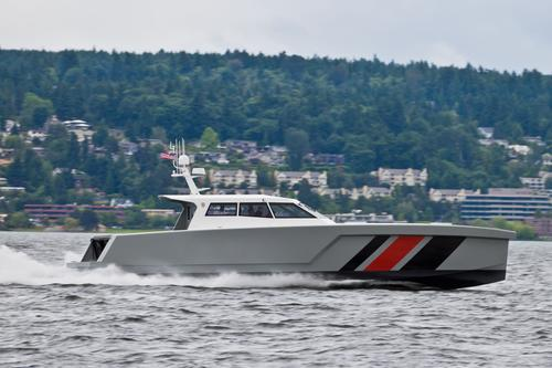 The LRV-17, the first manned boat to be made primarily of nanomaterials, has an extended range of more than 1,500 nautical miles -- more than three times the range of similar-sized vessels. (Source: Zyvexz Marine)