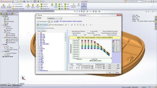 New in the 2013 release is a Plastics capability for analyzing materials properties prior to building prototypes.   (Source: SolidWorks)