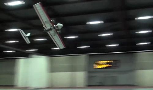 Researchers at MIT flew an autonomous robotic plane in an enclosed area around obstacles, demonstrating that it is possible to build a self-navigational, fixed-wing vehicle that can fly at high speeds  safely without the use of GPS.   (Source: MIT) 
