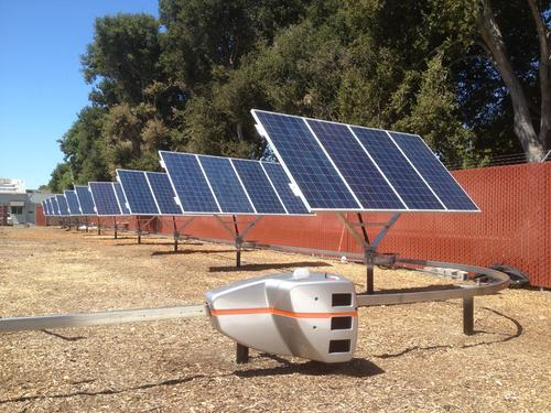 The QBotix Tracking System uses a monorail system of robots to tilt solar panels toward the sun as it moves throughout the day, replacing tracking systems that are complex and expensive to install and maintain.   (Source: QBotix)