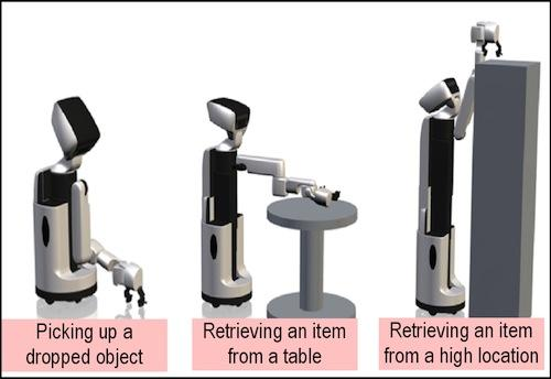 Toyota's Human Support Robot is shown here picking up an object that's been dropped, and retrieving objects from both a table and a high location. The robot, developed as part of the company's Toyota Partner Robot series, is meant to help elderly people or those with limited arm or leg mobility perform everyday tasks more efficiently and easily in the home.   (Source: Toyota)