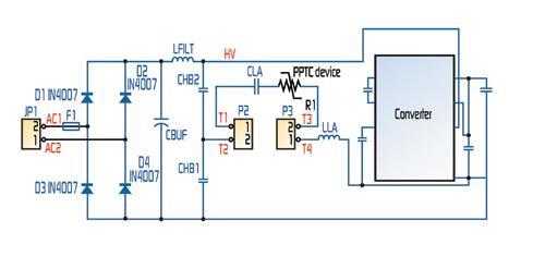 A typical circuit utilizing a PPTC device for protection of IC integrated ballasts.