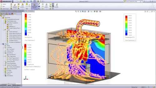 As part of its simulation portfolio, the SolidWorks Flow Simulation CFD tool lets users run what-if scenarios to analyze the effects of fluid flow and heat transfer quickly.