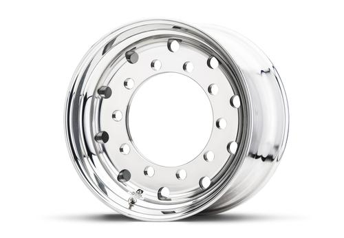 This Alcoa 45mm aluminum wheel for offset trailers is 37 percent lighter than a steel equivalent and has a maximum load per wheel of 5,000kg. (Source: Alcoa)