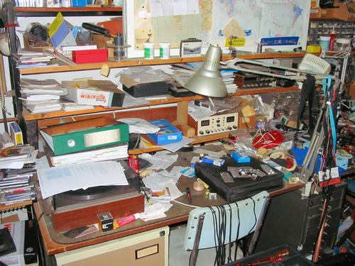 Voigt did not have a shortage of messy parts of his desk to capture on film (well, you know what I mean)!