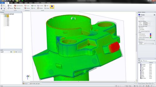 SpaceClaim 2012+ includes practical new mesh remodeling capabilities, such as the ability to compare a solid to a scan. This technology is useful when recreating models from scan and STL data, as well as to compare scans of produced parts to as-designed parts.   (Source: SpaceClaim)