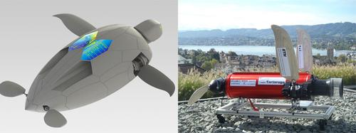 Left, engineers at the Swiss Federal Institute of Technology have built a robot modeled on a sea turtle, shown here in a conceptual drawing, that is capable of underwater autonomous navigation. Right, the robot sea turtle prototype, shown here without its container, is scheduled to make its first dive later this month.   (Source: Swiss Federal Institute of Technology)