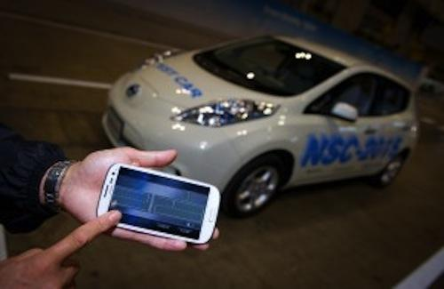 Nissan's NSC-2015, on display at the CEATEC 2012 conference in Japan, can find its own parking spot and return to pick you up after being summoned via mobile app. The car uses sensors and a camera to keep track of its location, and gives an owner a 360-degree camera view via an LTE connection of the area around the car, allowing him or her to remotely trigger the car's alarm in case of suspicious activity. Nissan will begin selling the car in 2015. 