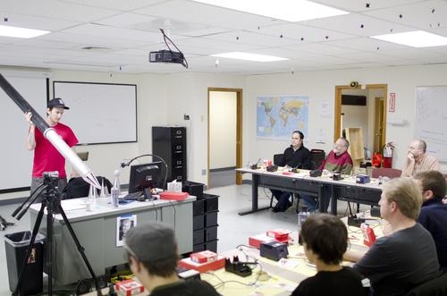 A SparkFun instructor started out the class by teaching soldering techniques with an enlarged (you think?) soldering iron.   (Source: SparkFun)