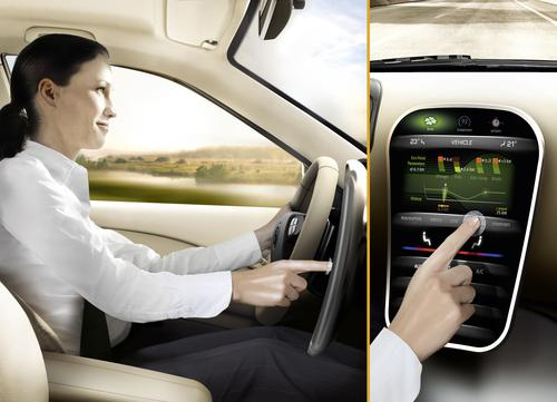 A haptic feedback technology from Continental Automotive provides a pulse signal to dashboard buttons, thus enabling drivers to feel the controls and focus on the road ahead.   (Source: Continental Automotive North America)