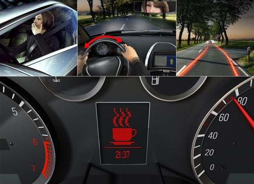 Bosch's Driver Drowsiness Detection System uses drivers' steering movements to determine if they're becoming tired. If so, it uses visual signals, such as a flashing coffee cup on the instrument panel, to suggest they take a break.   (Source: Bosch Automotive)