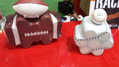 Polypack Inc. brought a sports theme to the packaging show with polyethylene wrappers designed to look like baseballs, basketballs, and footballs. The sports wrappers can be used for juice packs and canned goods. 