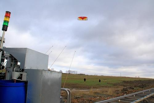 One of the test kites being used to create energy according to a method designed by Nature Technology Systems in Germany makes its first flight. The company -- which partnered with Fraunhofer Institute for Manufacturing Engineering -- said the system it created uses the same principles as wind turbines but is more efficient and environmentally friendly.   (Source: Fraunhofer Institute for Manufacturing Engineering and Automation IPA)