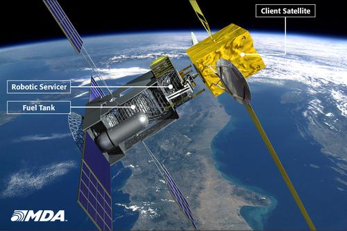 Canadian aerospace firm MacDonald, Dettwiler, and Assoc. (MDA) is working on the design of a robotic spacecraft that will function as a mobile gas station and mechanic for automatically refueling and repairing orbiting satellites. This will save those commercial and government satellites from becoming expensive pieces of space junk and cluttering up Earth's orbit. About the size of a typical communication satellite, the Space Infrastructure Servicing vehicle will be equipped with a robotic arm and a toolkit, working in a remote-controlled mode and carrying out other tasks semi-autonomously.