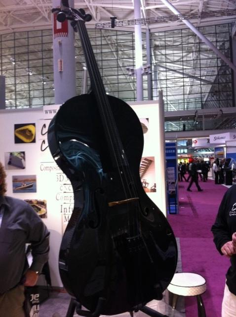 This cello, composed of carbon fiber, caught my eye. It was made by Clear Carbon & Components Inc.