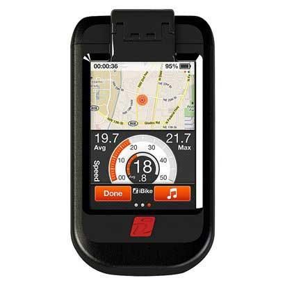 IBike makes a number of products for cyclists that measure, rather than estimate, various cycling data. IBike offers iPhone- and iPod-based software apps (iBike Dash, shown here) and discrete power meter devices under the iBike Newton brand.