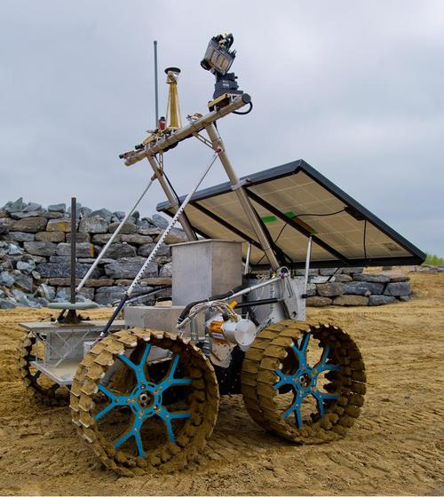 The full-sized Artemis moon rover weighs 230kg (507.06 pounds) and can carry payloads of up to 150kg (330.69 pounds). It has a maximum speed of 4kph (2.49mph). The four-wheel drive and specialized wheel system make it easy to operate in tight spaces. Like a tank, Artemis' wheels use skid-steering to turn. The wheels on one side of the rover push, while the wheels on the opposite side pull. This lets the rover spin a full 360 degrees in place. Onboard solar panels power scientific instruments, including multiple types of sensors. The rover can be operated remotely or at short range, and it completed its first field trials in July. (Source: Canadian Space Agency)