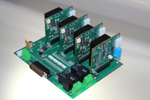 The CNC motherboard has four stepper driver modules plugged into the respective slots.   (Source: Texas Instruments)