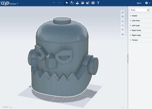 Browser-based 123D Design and example model. (Source: Autodesk)