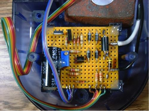 The dimmable LED driver circuit inside the desk lamp.