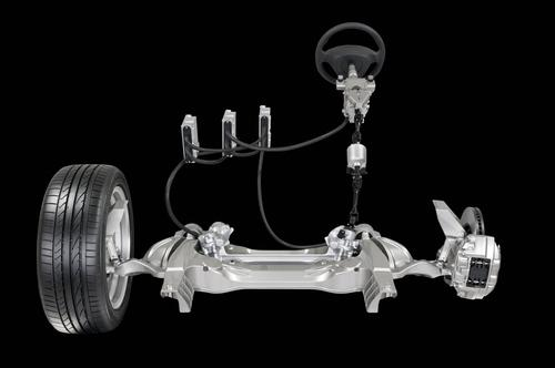 Nissan's next-generation steering employs a steering angle sensor at the steering wheel, three ECUs for control, electric motors to power the rack, and a steering force actuator near the driver to retain the vehicle's 'steering feel.'