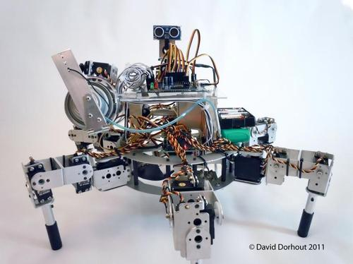 Dorhout's Prospero robot farmer looks somewhat like a mechanical spider, crawling and planting various kinds of seed in ideal locations for that particular crop.   (Source: Dorhout R&D LLC)