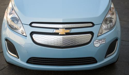 The Spark EV's front end will feature a closed upper grille that reduces air flow into what used to be the engine compartment.   (Source: GM)
