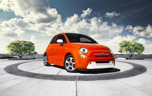 The Fiat 500e is the first retail electric car in Chrysler's 87-year history. It measures 142 inches long and has a curb weight of 2,980 lb.   (Source: Chrysler Group)