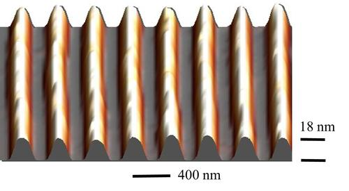 An atomic microscope image of graphene trenches at 18nm deep. Graphene is grown across the trenches. (Source: Georgia Tech)